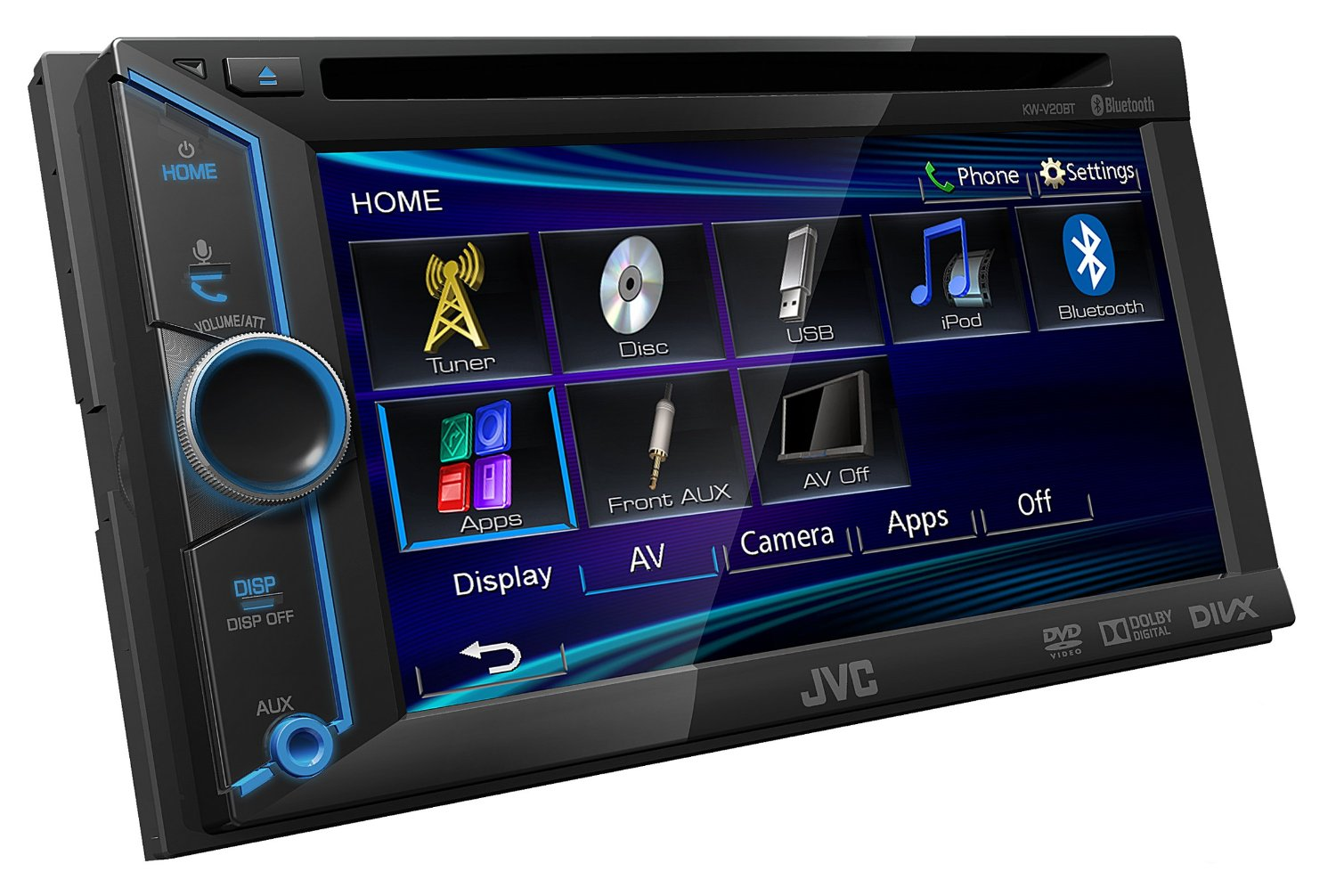 jvc kw v20bte receptor av 2 din dvd cd usb 6 1 bluetooth gps multimedia 2 din. Black Bedroom Furniture Sets. Home Design Ideas